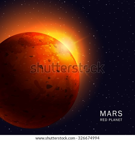 Abstract background with Mars Planet and bright red sunrise in space. Vector illustration - stock vector