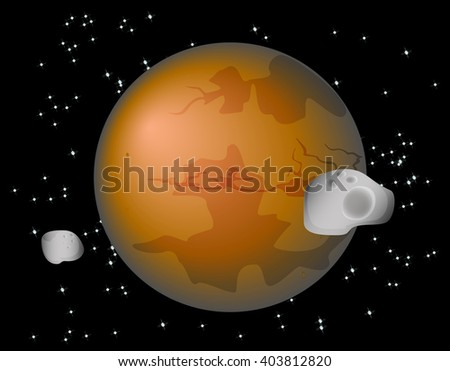 Abstract background with Mars Planet and its moons Phobos and Deimos. EPS10 vector illustration  - stock vector