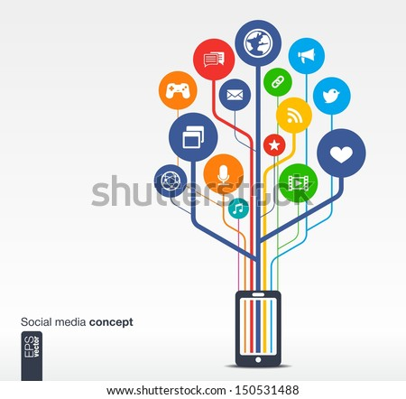 Abstract background with mobile phone, lines, circles and icons. Growth tree concept with social media, earth, network, computer, technology, mobile and speech bubble icon. Vector illustration. - stock vector