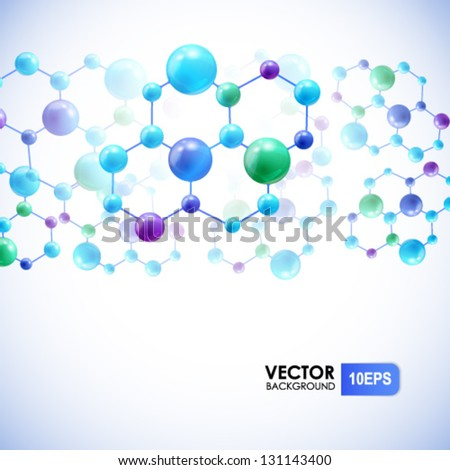 Abstract background with molecules and atoms - stock vector