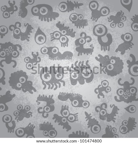 abstract background with monsters - stock vector