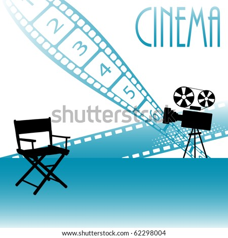 Abstract background with movie director chair, movie projector, numbered filmstrip and the text cinema written with capital letters - stock vector