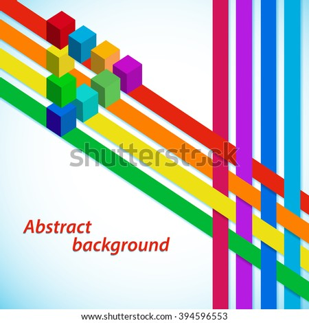 Abstract background with multicolored stripes and cubes illusion