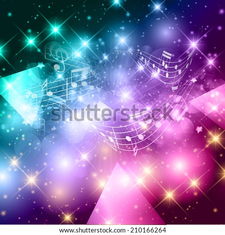 Abstract background with music notes design - stock vector