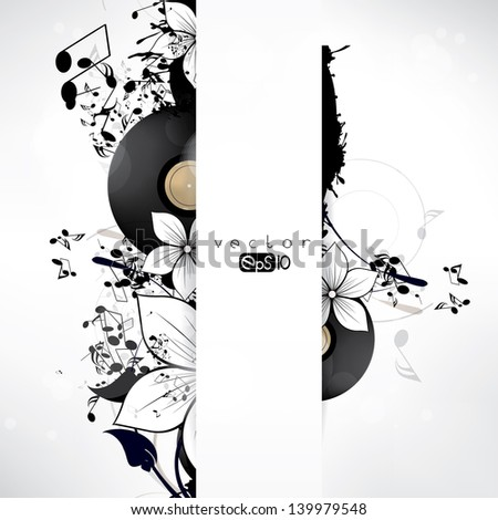 Abstract background with notes and floral elements - stock vector