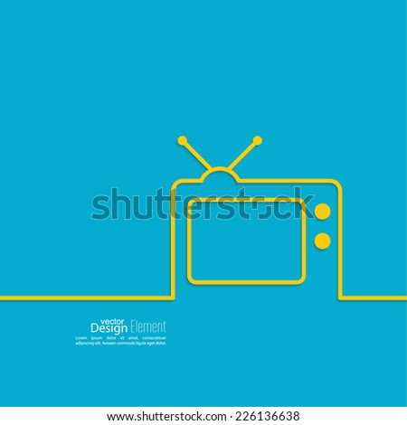 Abstract background with old TV and antenna. Browse TV shows, commercials, movies and TV series. homeliness - stock vector