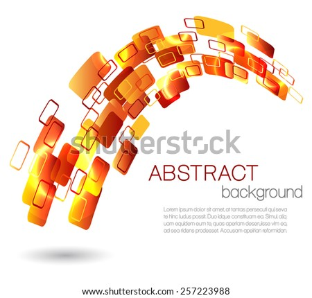 Abstract background with orange rectangles - stock vector