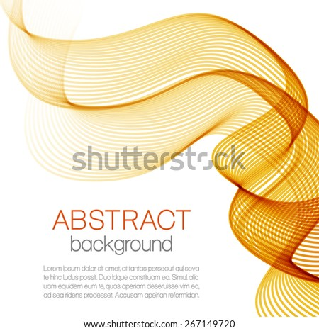 Abstract background with orange wave isolated on white - stock vector