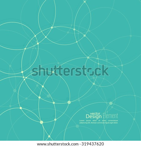 Abstract background with overlapping circles and dots. Chaotic motion. - stock vector
