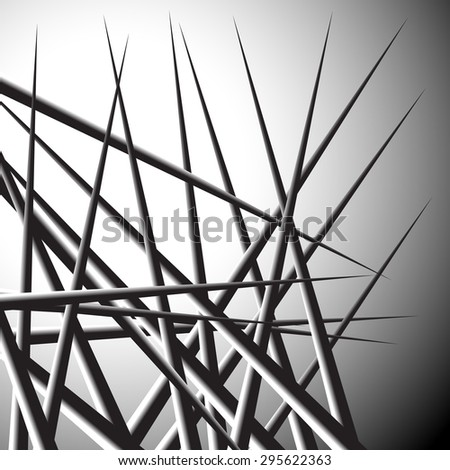 Abstract background with overlapping pointed, triangular shapes. Grayscale - Black and white version.