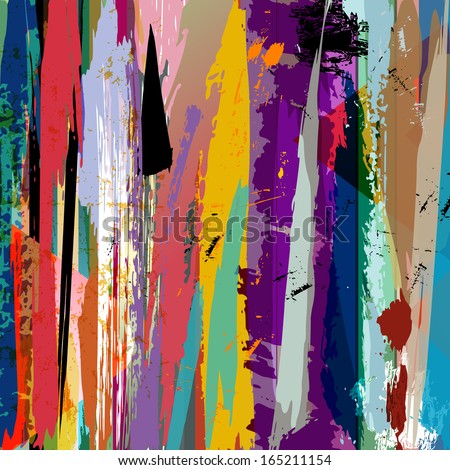 abstract background, with paint strokes, splashes and stripes - stock vector