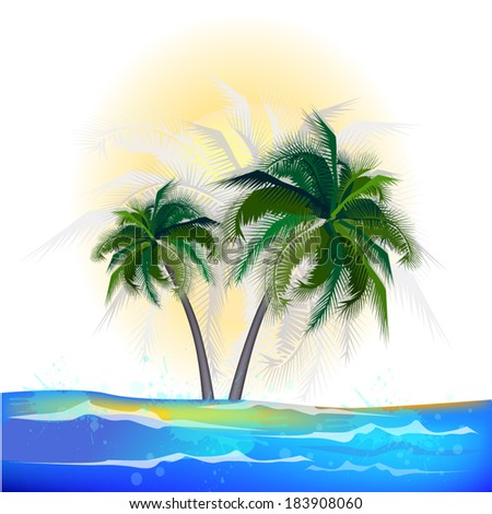 Abstract background with palm sun and sea. Vector