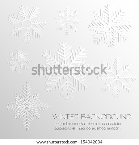 Abstract background with paper snowflakes. EPS10 vector illustration.
