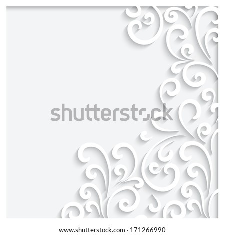 Abstract background with paper swirls, vector ornamental frame, eps10 - stock vector