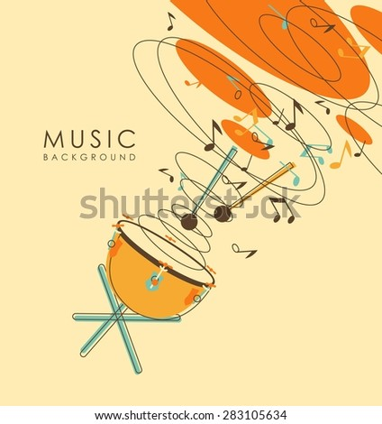 Abstract background with percussion musical instruments drum timpani in vintage sketch style - stock vector