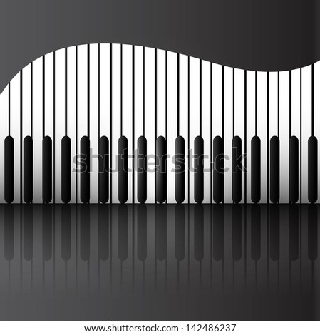 Abstract background with piano keys reflection vector