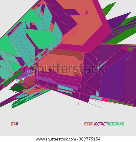 Abstract background with polygon crystal objects, colored. HiTech. Eps8. - stock vector