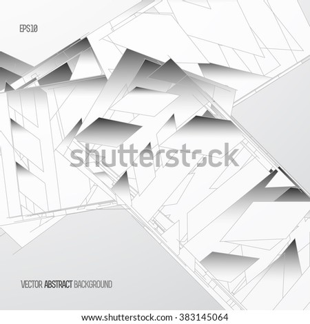 Abstract background with polygon features, with grooves, monochrome. HiTech. eps10 - stock vector