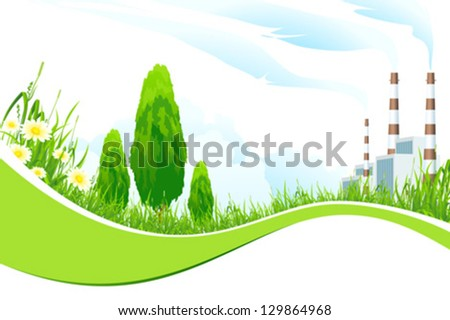 Abstract Background with Power Plant, Trees, Flowers and Grass