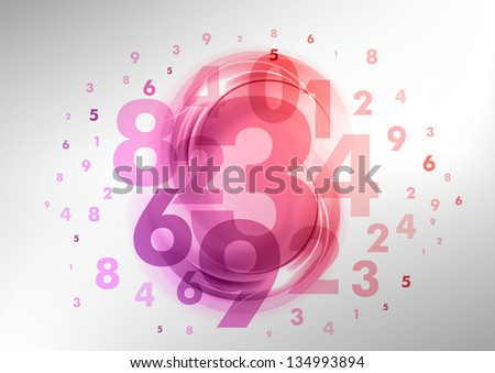 abstract background with purple and pink numbers - stock vector