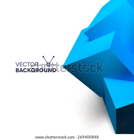 Abstract background with realistic 3D overlapping blue cubes on the right edge. - stock vector
