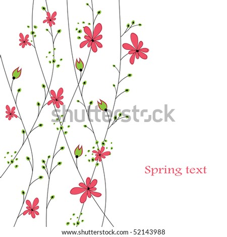 Abstract background with red flowers. vector illustration - stock vector