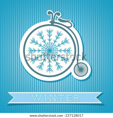 Abstract background with retro bicycle, snowflake and banner with text. Winter theme. Striped background. Vector file is EPS8.