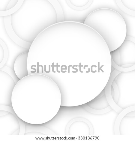 Abstract background with rings of light gray color. Paper circle banner background. Stock vector.