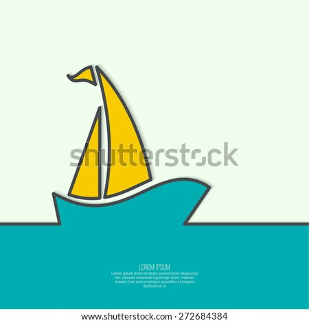 Abstract background with Sailboat sailing in the sea. poster design template. - stock vector