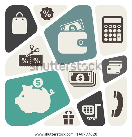 Abstract background with shopping theme icons - stock vector