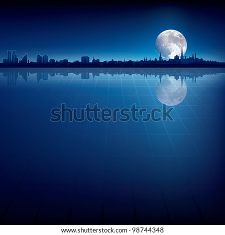 abstract background with silhouette of city and big moon - stock vector