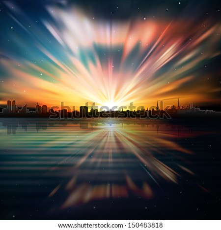 abstract background with silhouette of city and color sunrise - stock vector
