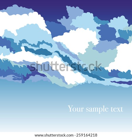 Abstract background with sky and clouds, vector illustration - stock vector