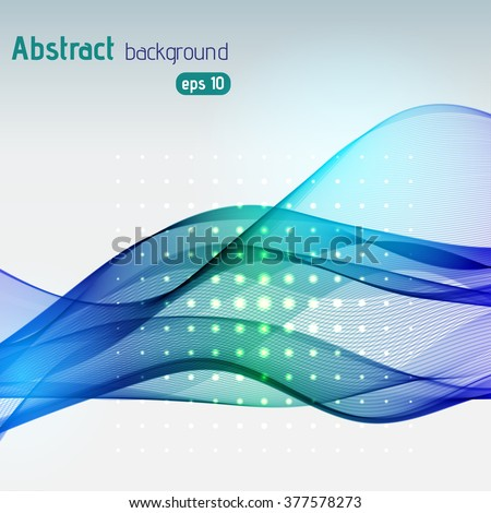 Abstract background with smooth lines. Color waves, pattern, art, technology wallpaper, technology background. Vector illustration. Blue, green colors.
