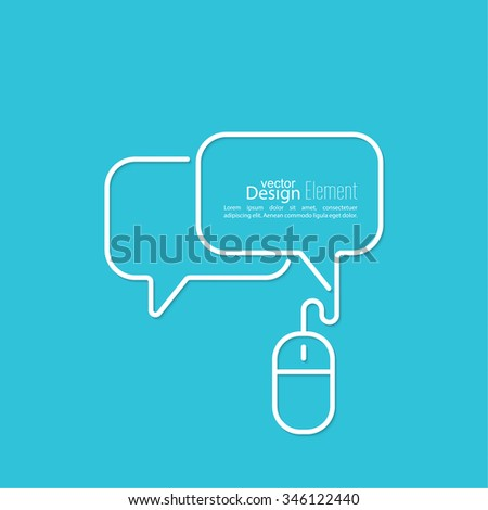 Abstract background with Speech Bubbles symbol. Chat icon. Concept showing conversation and discussion, question and answer. Symbols of computer mouse with cable. - stock vector