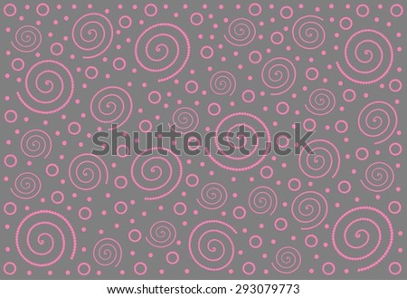 Abstract background with spirals, dots and circles