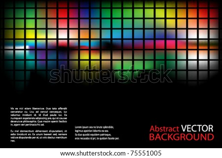 abstract background with splashes of color and squares - stock vector