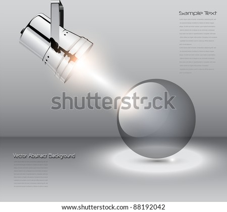 Abstract background with spotlight and transparent ball, vector. - stock vector