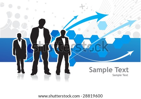 Abstract background with standing businessman . Vector illustration.