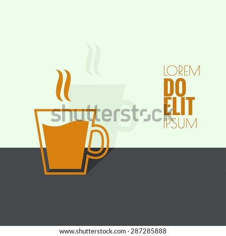 Abstract background with steaming cup. Coffee and tea.  for menu, restaurant, cafe, bar, coffeehouse. flat design. minimal. outline icon. - stock vector
