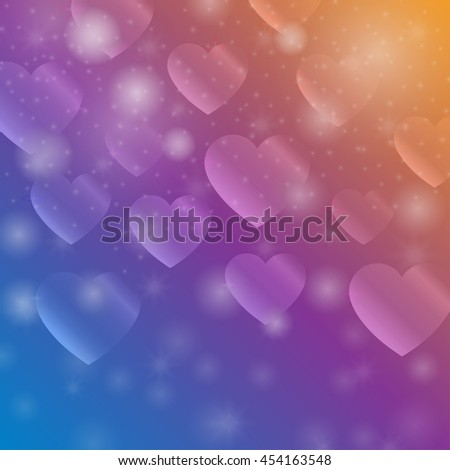 Abstract background with stylized hearts bokeh. Festive decoration for Valentine's Day. Bright cover with a symbol of love. Vector illustration. - stock vector