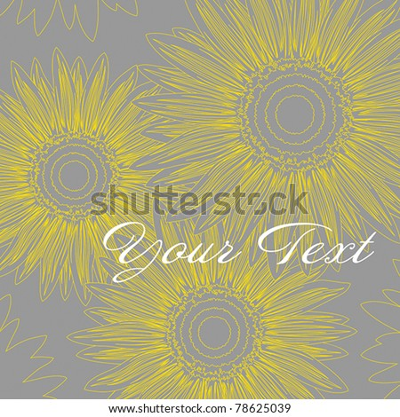 Abstract background with stylized  sunflowers, EPS 8, CMYK - stock vector