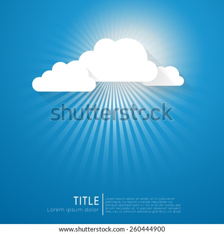 abstract background with sun rays and clouds