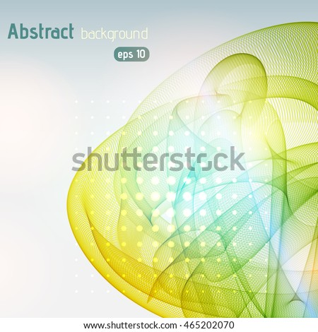 Abstract background with swirl waves. Eps 10 vector illustration. Yellow, blue, white colors.