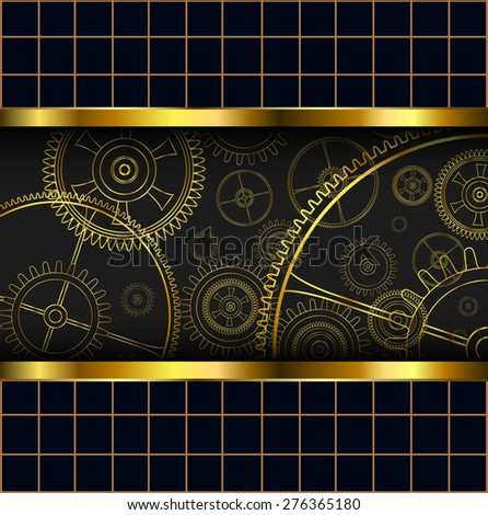Abstract background with technology machine gears gold, vector illustration. - stock vector