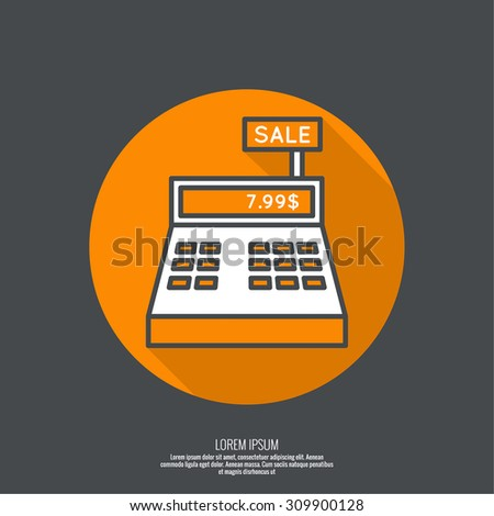 Abstract background with the cash register. Pictogram icon. minimal, outline. button with flat shadow for the Web and mobile applications - stock vector