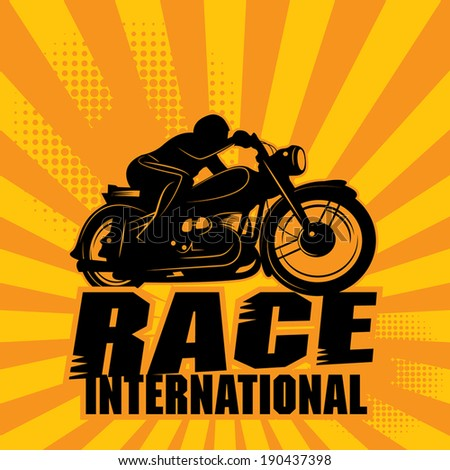 Abstract background with the words Race International inside, vector illustration - stock vector
