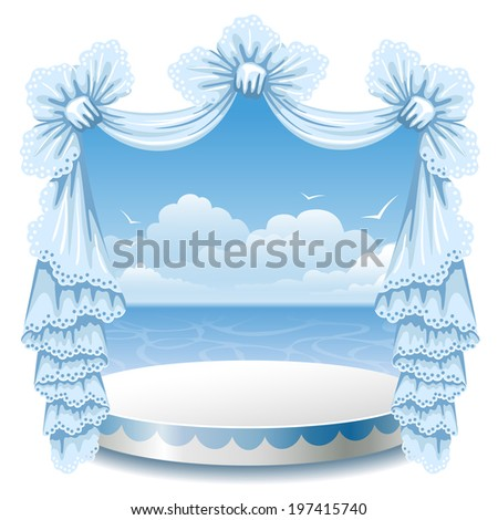 Abstract background with theater stand and lace curtain - stock vector