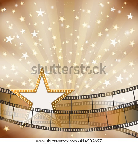 abstract background with transparent film strips and star frame with light bulbs. vector