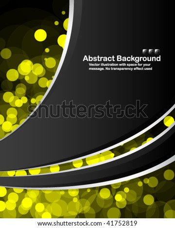 "Abstract background with transparent random yellow circles and space for your message. No ""transparency"" effect used - stock vector"